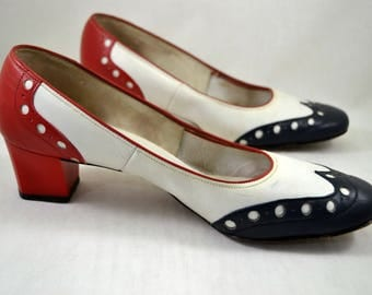 1960s Miss America Red White Blue Spectator Shoes / 60s Vintage Heels / Mid Century / Matching Handbag Available / Size 8