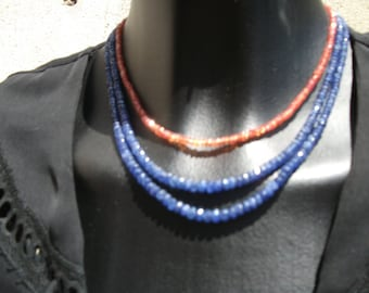 Blue sapphires - night: AAA, facetés(3-5mm) necklace.
