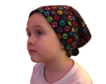 Mia Children's Head Cover, Girl's Cancer Hat, Chemo Scarf, Alopecia Headwear, Head Wrap, Cancer Gift for Hair Loss - Rainbow Paws
