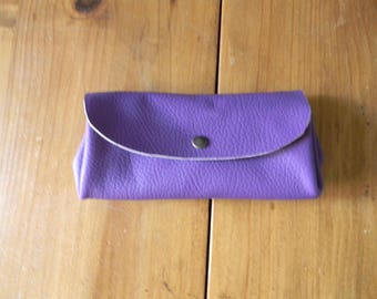 Hand made lilac leather wallet