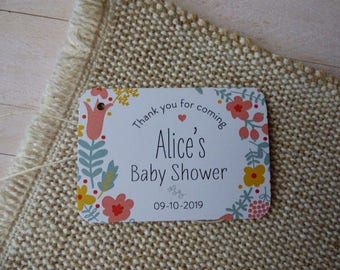 Baby Shower Tags, Custom Baby Shower Tags, Baptism Favor Tags. Communion Tags. Floral Favor Tags. Set of 25 to 300 pieces