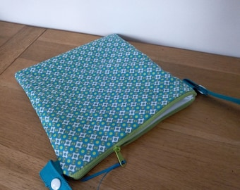 Waterproof pouch for pool printed geometric green vintage