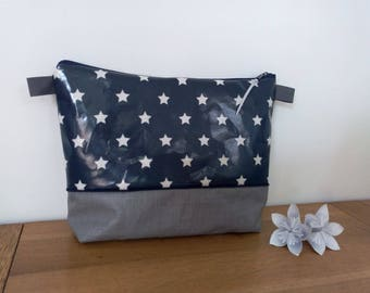 Navy stars toiletteimpermeable pouch white with or without a handle for child or adult