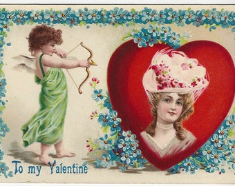 "1911 ""To my Valentine"" Victorian Girl Heart Cameo with Cupid Vintage Postcard ~ Made in Germany"