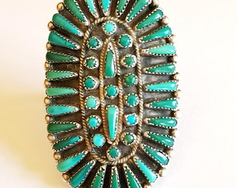 Large Vintage Zuni Sterling Silver and Turquoise Cluster Ring Signed V. WALLACE ZUNI Native American Petit Needle Point Size 9-1/8