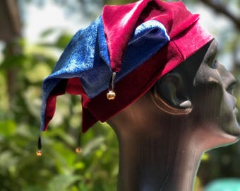 Authentic Velvet Jester Hat - Great for: Cosplay, Theatre, Renaissance, Festivals, Performers, Jugglers. Handmade by- The Complete FooL