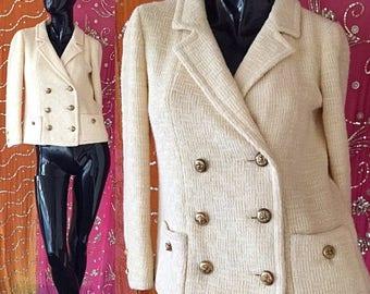 Sale Seymour Hoffman Saks Fifth Avenue Jacket Ivory Wool Nautical Blazer Vintage 50s Seymour Hoffman Tailored Blazer
