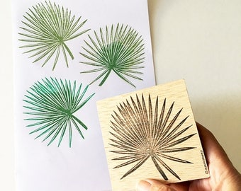 Palmetto Leaf Rubber Stamp, Hand Carved Stamp, Tropical Leaf, Stamping Supply, Saw Palmetto