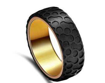 Custom V-Force Carbon Fiber and Gold Plated Titanium Ring