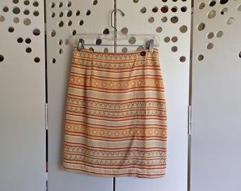 90s Boho Print Panel Skirt - Size 4