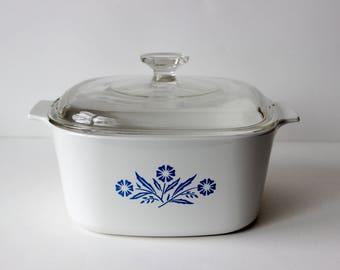 Vintage Corning Ware 3 Quart Casserole with Lid Cornflower Blue A-3-B