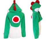 Yoshi inspired Cute green dino cosplay costume hoodie (shrug style), gamer, game, console, anime, dragon, dinosaur, trex, t-rex costume