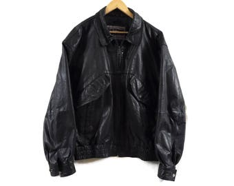 Vintage Mens Leather Bomber Jacket - XL - Black Leather Jacket - Vintage Clothing - Moto Jacket - Classic Leather Coat
