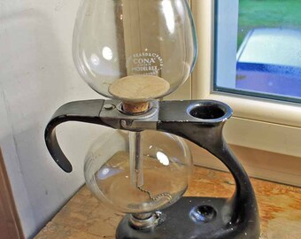 Vintage 1950's vacuum brewer designed by Abram Games,1950's Cona Kirby Beard & Co Paris coffee syphon Model REX / Old Pyrex coffee maker