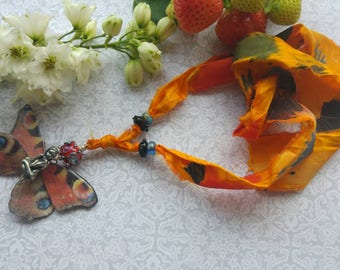 Firefairy Necklace. Art jewelry. Lampwork. Butterfly Necklace. Handpainted Silk . Uk artist. Gift for her.