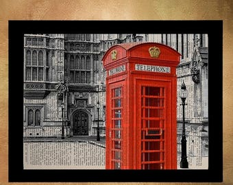 sale ends dec 5 london red phone booth dictionary art print england uk