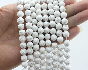 8MM Natural White Lava Rock Beads Gemstone Beads Stone Beads Round Beads ,One Full Strand,Gemstone Beads---15-16 inches--NS111
