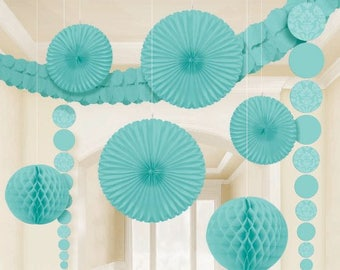 9 Pc Aqua Party Decorating Kit With Damask Designs - Includes A 12 Ft Garland - Create A Beautiful Celebration!