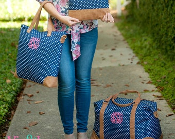 Charlie Dot Collection, Weekender, Shoulder Bag, Zip Pouch, Monogrammed Gift, Embroidered Bags, Free Personalization, Navy Bag, Polka Dots