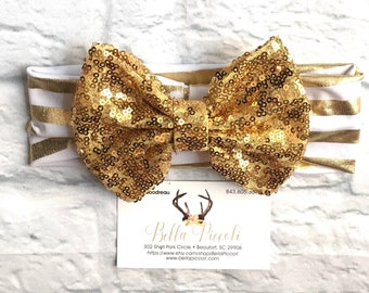 Baby Headbands, Baby Girl Headbands, Gold Bow Headband, Gold and White Band Headband, Headbands, Baby Girl, Sequin Headbands, Sequin Bows