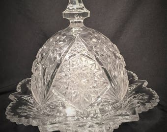 "Imperial Glass ""Cosmos"" Pattern Butter/Cheese Ball Round Pressed Glass Dish with Domed Lid, Circa 1960's, Signature on Base."