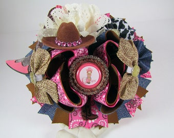 Cowgirl / Country Chic/ XLarge / SuperOTT Boutique Stacked Bows / 6 Inch Hair Bows / Twisted Boutique Bow / Country Swag