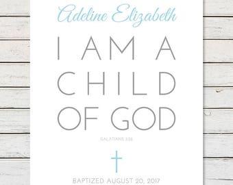 BAPTISM PRINTABLE, Girl Baptism Gift, Personalized Baptism Gift, Boy Baptism Gift, Baptism Scripture, Custom Baptism Gift, Galatians 3:26