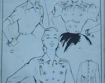 "Vintage sewing pattern. Woman 389. Blouse pattern bust 34"""