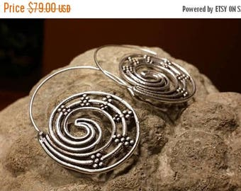 Holiday SALE 85 % OFF Hoops Earrings  Ethnic  Gemstone  .925 Sterling  Silver