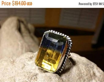 Holiday SALE 85 % OFF Amitrine  ring size 9.5 Sterling 925 Silver   Ring  Gemstone