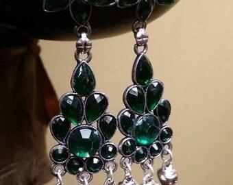 Holiday SALE 85 % OFF Green quartz  Sterling silver Earrings Gemstone  .925
