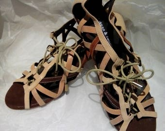 RETRO GENUINE LEATHER women's shoes sandals strappy nude lace ups wedding party celebrations formal evening wear