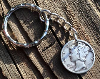 PICK YEAR! SILVER Mercury Dime Key-Chain Birthday Gift for Women / Man 90 80 75 1928 90 1935 1936 1937 1938 1939 1941 1942 75 1943 1944 1945