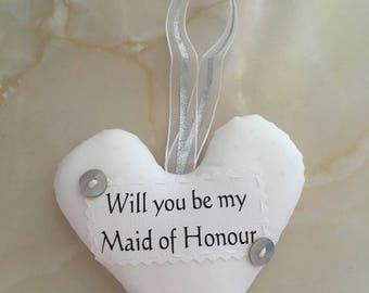 Maid of honour gift, Maid of honour heart, wedding