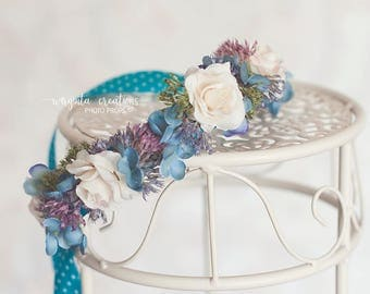 Flower tieback for newborn. White, purple, turquoise.Photo prop. Ready to send