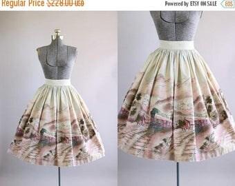 BIRTHDAY SALE... Vintage 1950s Skirt / 50s Cotton Skirt / Pink Scenic Train Novelty Border Print Skirt S