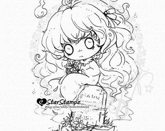 Ghost Girl DIGITAL STAMP Instant Download