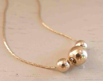Delicate Gold Boho Necklace - Beads Pendant Necklace - Gold Beads Necklace - Dainty Gold filled Necklace - Thin Gold Necklace - Minimalist