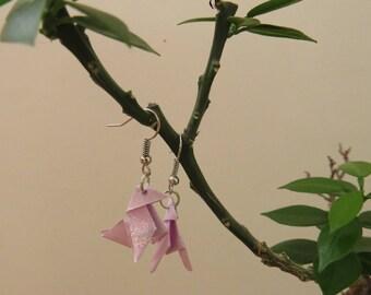 Pretty dangling origami pink glittery pine cones