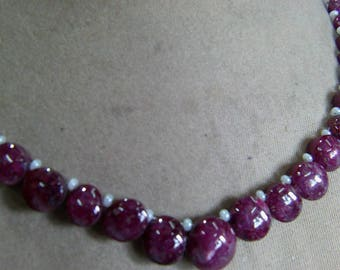 1 Strand  Indian Ruby star   Natural  beads 23, grams 6X7, 10X12, MM