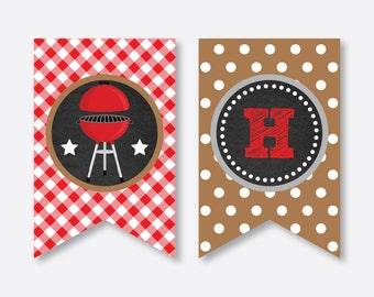 Instant Download, Barbeque Party Banner, BBQ Party Banner, Barbeque Happy Birthday Banner, Barbeque Party Decoration, Chalkboard (CKB.75)