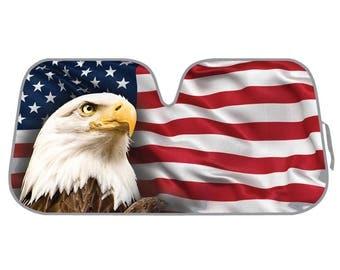USA Eagle Flag Auto Windshield Sun Shade for Car SUV Truck - Stars & Stripes - Bubble Foil Jumbo Folding Accordion