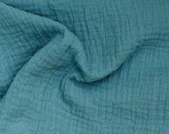 Muslin Mullstoff Double Gauze 100% organic cotton, Rauchblau