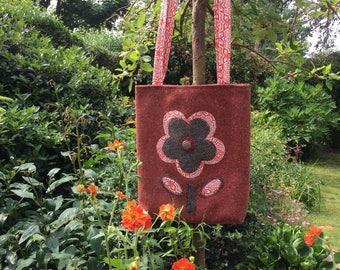 Wool tweed flower bag