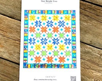 Star Quilt Pattern - Star Bright Two Quilt Pattern - Crib Size Quilt Pattern - Baby Quilt Pattern - Small Quilt Pattern - Advanced Beginner