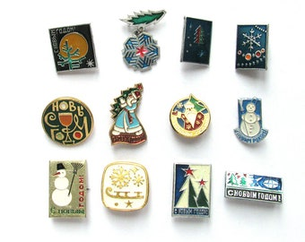 New Year, Vintage metal children's badge, Santa Claus, Christmas tree, Deer, Xmas, Snowman, Winter, Gift, Soviet Vintage Pin, Made in USSR