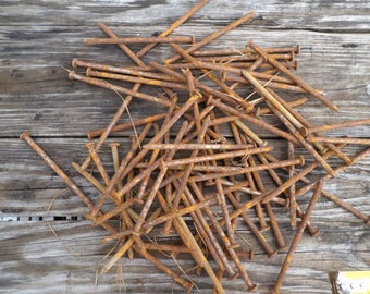 6 pounds large  5 inch rusty nails 40d size steampunk industrial