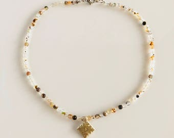 Africa Inspired White Agate Gemstone Choker Necklace