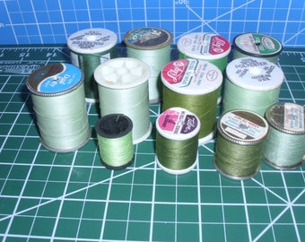 12 Spools Light/Medium Green Sewing Thread / J and P Coats / Clark's / Talon / Lily / Stitch 'n Time / Vintage and New Thread