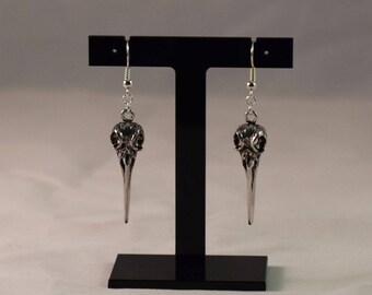 Raven Bird Skull Earrings